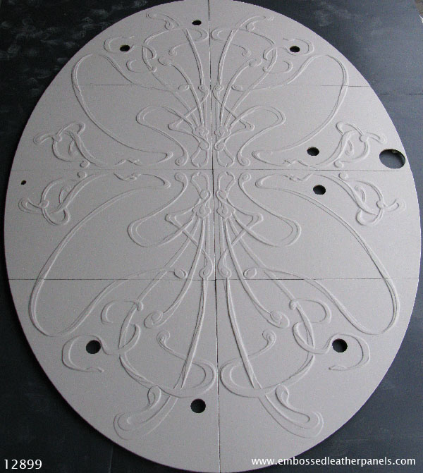 Embossed leather panels with art nouveau design for a ceiling